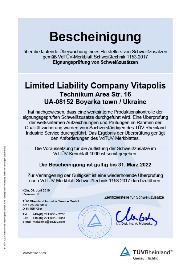 Certyfikat TUV dla drutów Horda po niemiecku